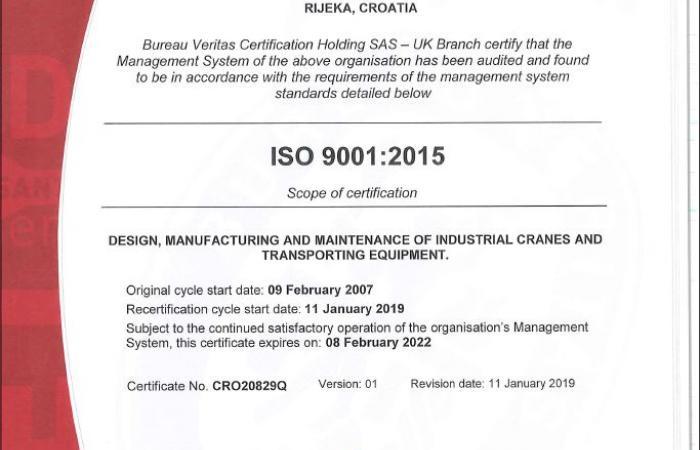 ISO 9001 certifikat en